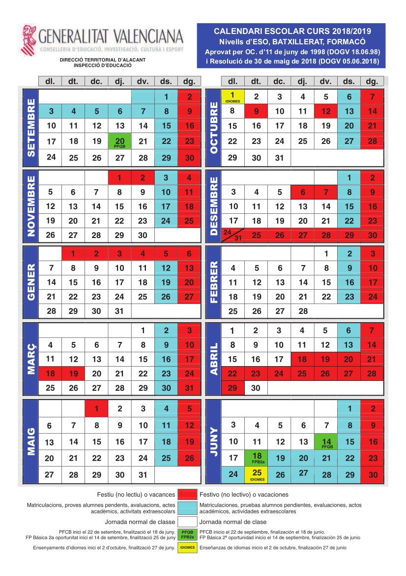 calendariescolareso1819