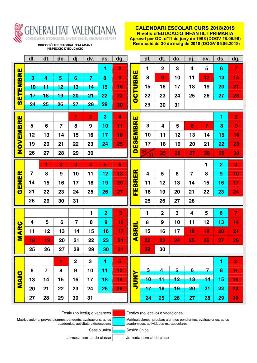 calendarioescolarinfantilprimaria1819